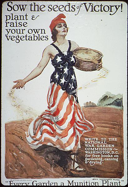 Above: Advertising for Victory Gardens during World War I in the US