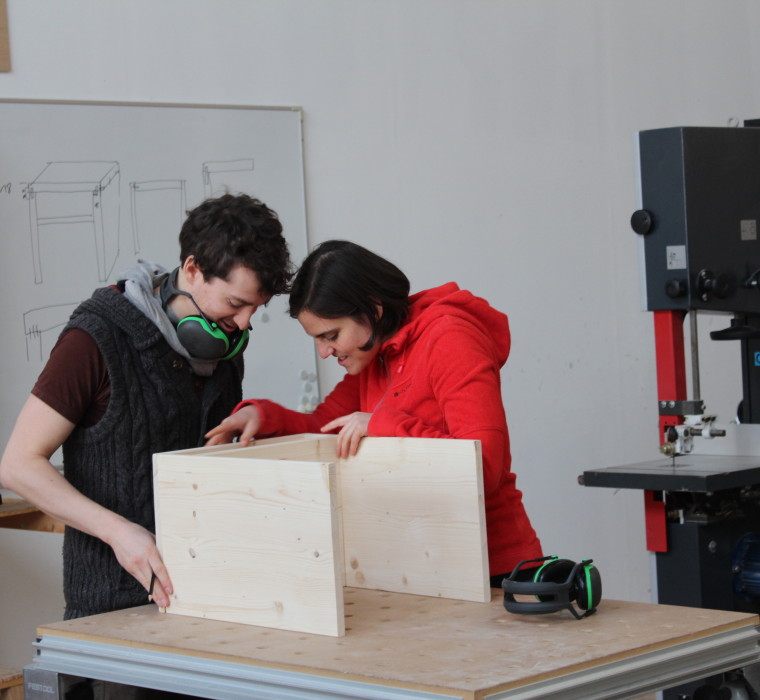 Christian & Julia checking the prototype for guidance