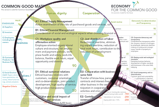 An example of a Common Good Balance Sheet, courtesy of ecogood.org