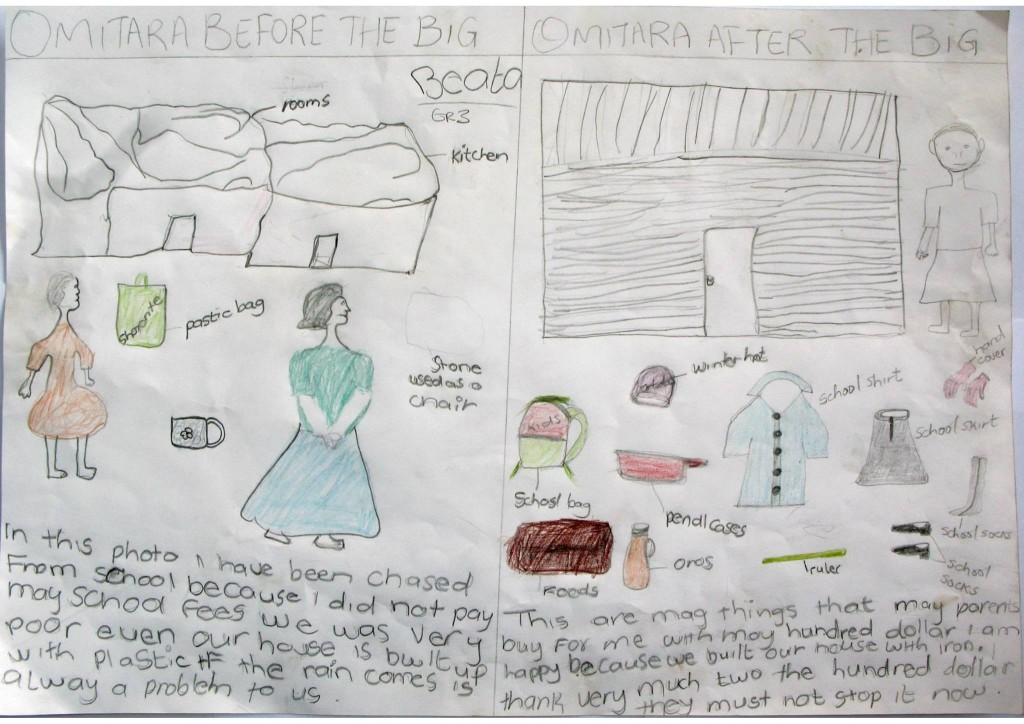 "Drawing from a school competition at Otijvero Primary School in Namibia – ""Before and after BIG (=Basic Income Grant)"". Beata Shimuandi - Grade 3"