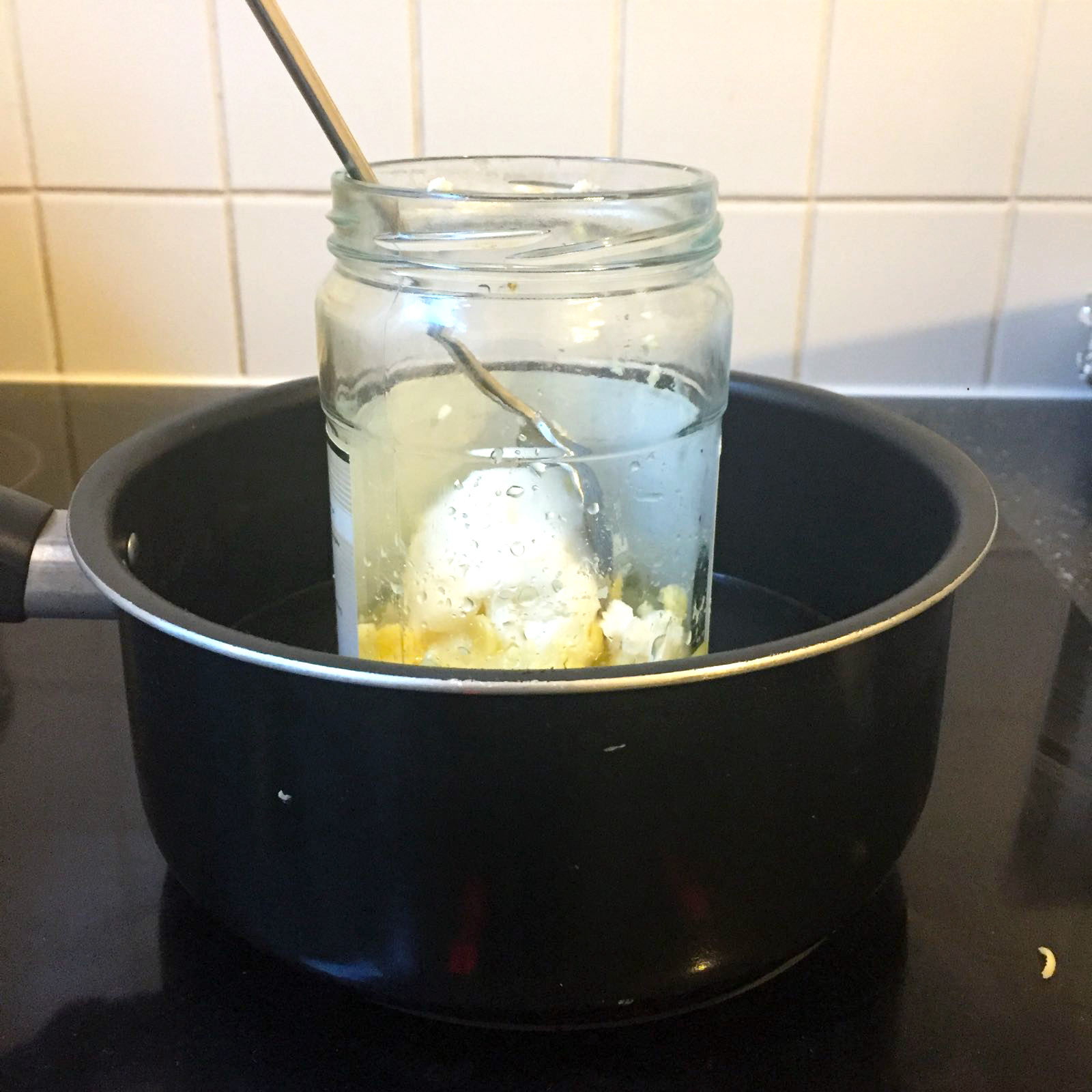 Melting the ingredients au bain-marie